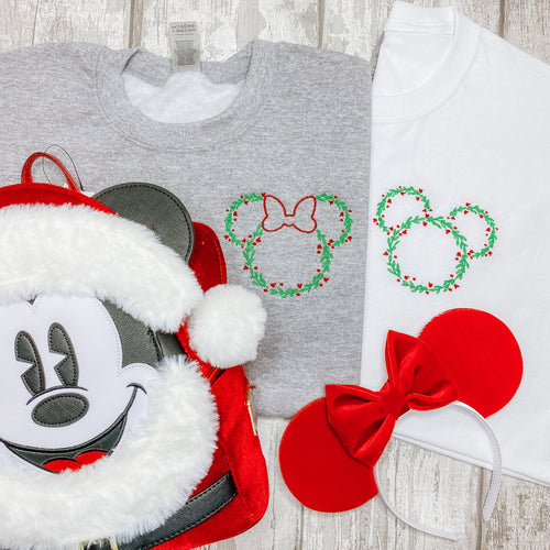 Mickey & Minnie Christmas Wreath Embroidered Hoodie
