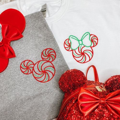 Mickey & Minnie Peppermint Swirl Embroidered Hoodie