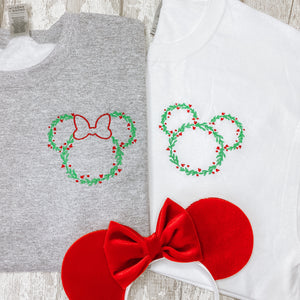Mickey & Minnie Christmas Wreath Embroidered Tee