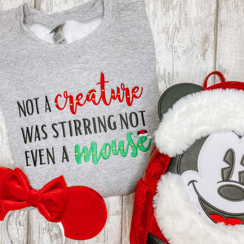 Not A Creature Was Stirring Not Even A Mouse Embroidered Hoodie