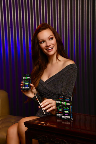 happy beautiful woman with cbd products