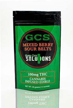Green Care Solutions mixed berry sour belts front of package