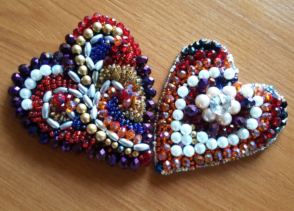 Hand beaded heart shape