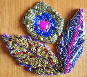 Hand beaded leaves