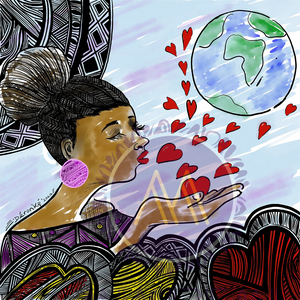 AFRO WOMAN BLOWING LOVE-  PATTERN FOR ALL SURFACES