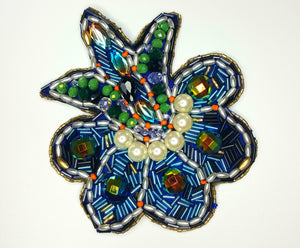 "HAND BEADED FLOWER 41/4"" by 3.5"""
