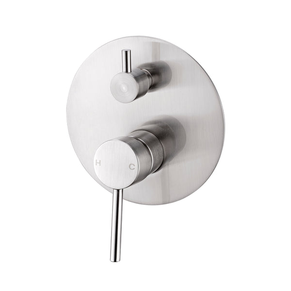 CLASSIC ROUND BRUSHED NICKEL SHOWER MIXER WITH DIVERTER