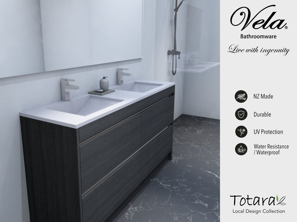 NZ Made Ngaio 1200 Floor Standing Double Basin Vanity - Available in 7 different finishes