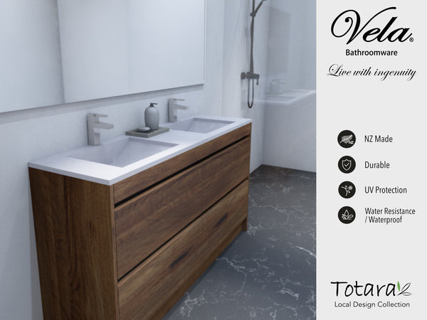 NZ Made Ngaio 1500 Floor Standing Double Basin Vanity - Available in 7 different finishes
