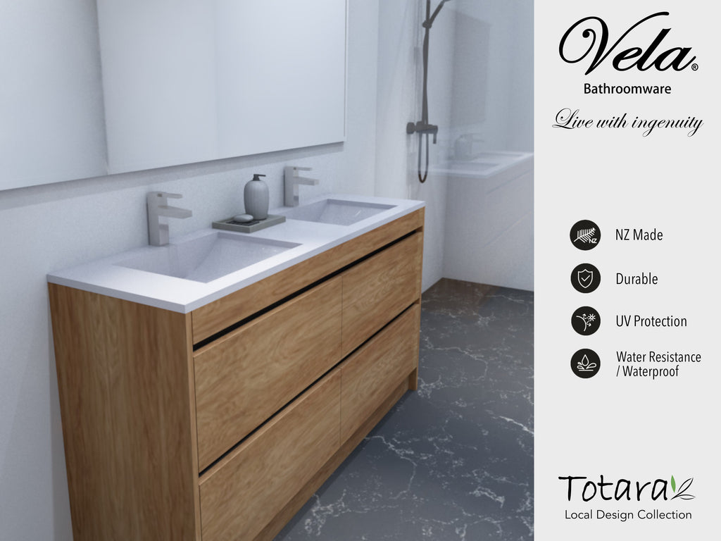 NZ Made Pania 1500 Floor Standing Double Basin Vanity - Available in 6 different finishes