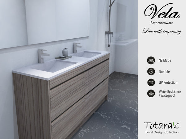 NZ Made Pania 1200 Floor Standing Double Basin Vanity - Available in 6 different finishes