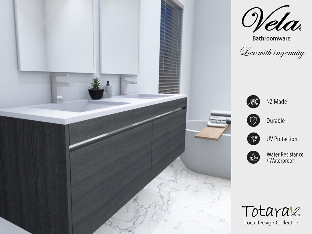 NZ Made Ngaio 1200 Wall Hung Double Basin Vanity - Available in 7 different finishes