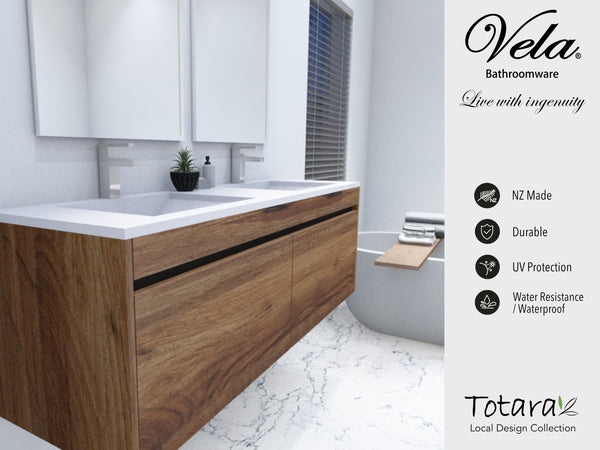 NZ Made Ngaio 1500 Wall Hung Double Basin Vanity - Available in 7 different finishes
