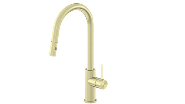 RONDO BRUSHED GOLD PULL OUT SINK MIXER WITH VEGIE SPRAY FUNCTION