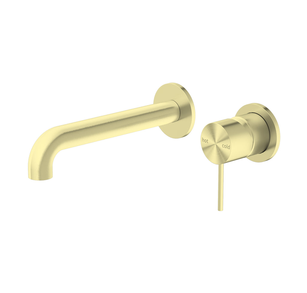 RONDO BRUSHED GOLD WALL BASIN MIXER160/185/230MM ( SEPARATE BACK PLATE)