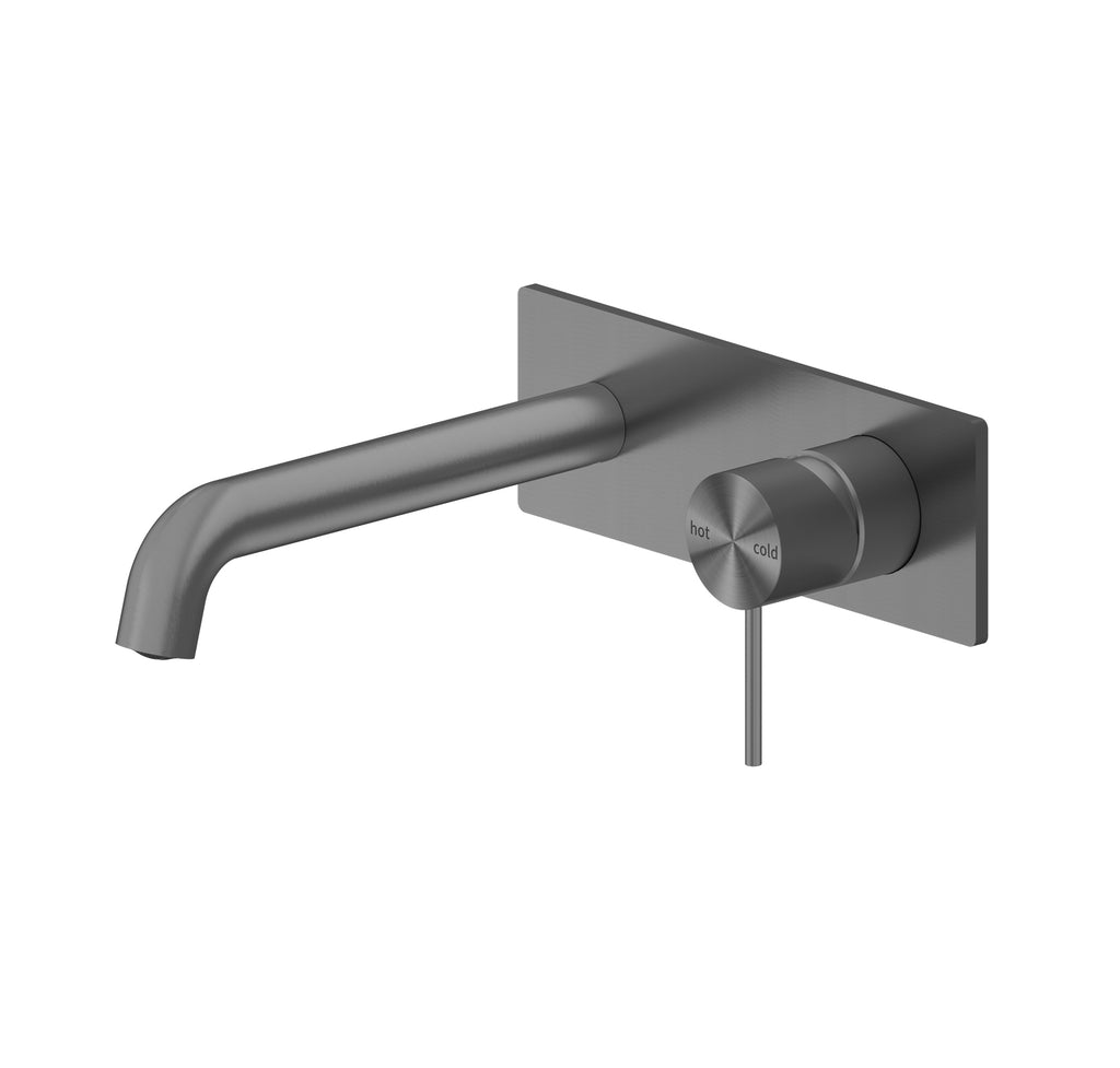 RONDO GUN MATEL GREY WALL BASIN MIXER 160/185/230MM