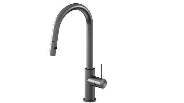 RONDO GUN METAL GREY PULL OUT SINK MIXER WITH VEGIE SPRAY FUNCTION