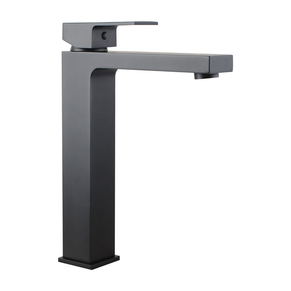 Rock Square Matt Black Tall Basin Mixer