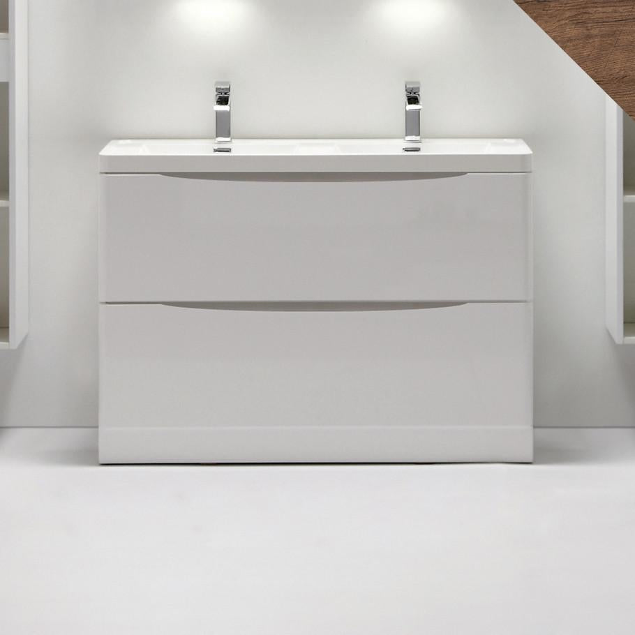 SMILE 1200 SINGLE/DOUBLE FLOOR WHITE VANITY
