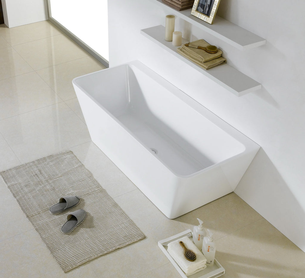 1016 -1500 V-Shape Back to Wall Freestanding Bath