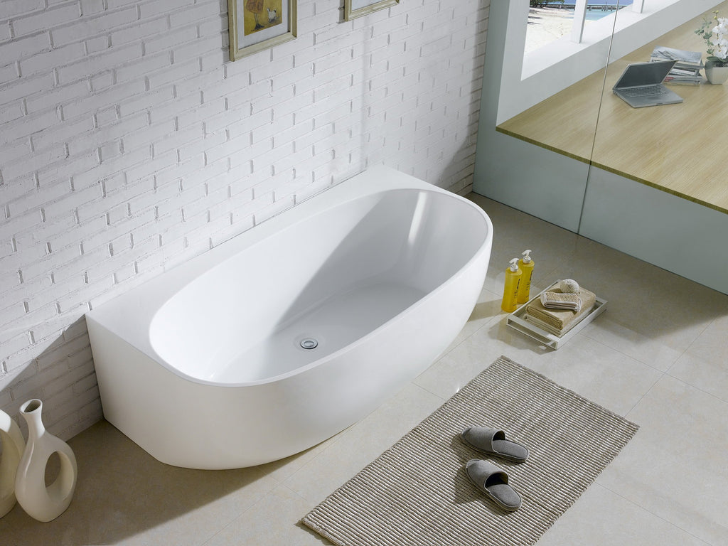 1028-1700 CURVED SHAPE BACK TO WALL FREESTANDING BATH