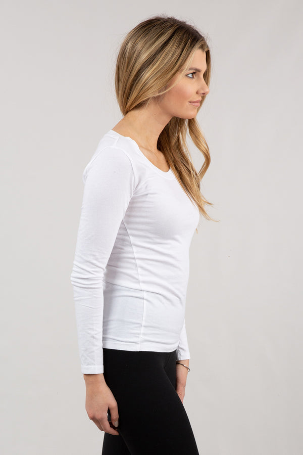 White - Basic Scoop Neck Tee - Long Sleeve - Side