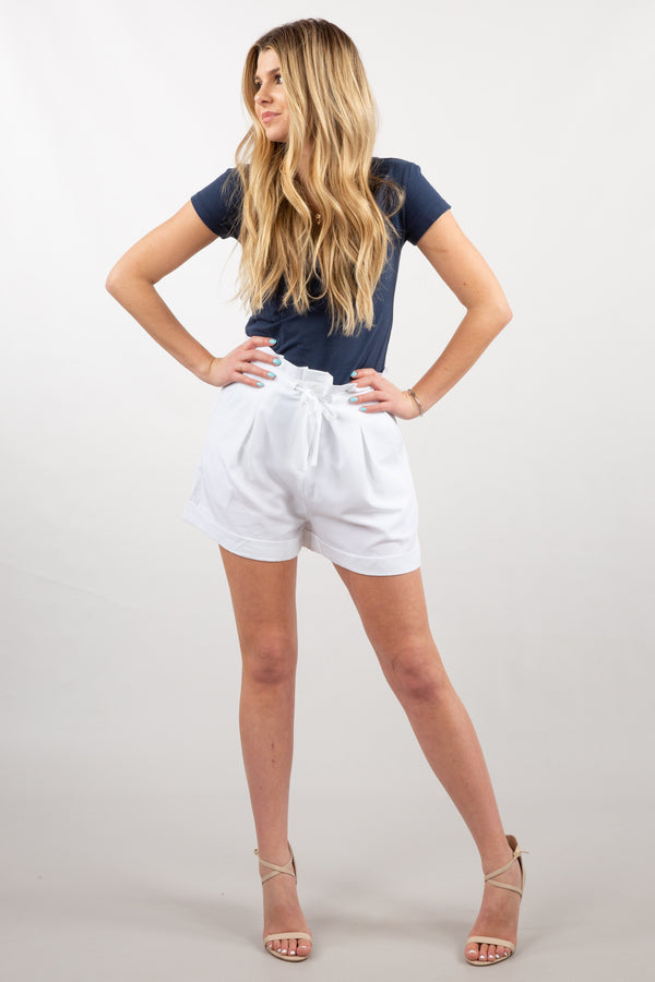 White - Ruffle Top Shorts - Front 1
