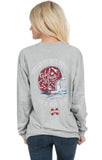 Heather Grey - Mississippi State Helmet Tee - Long Sleeve Back
