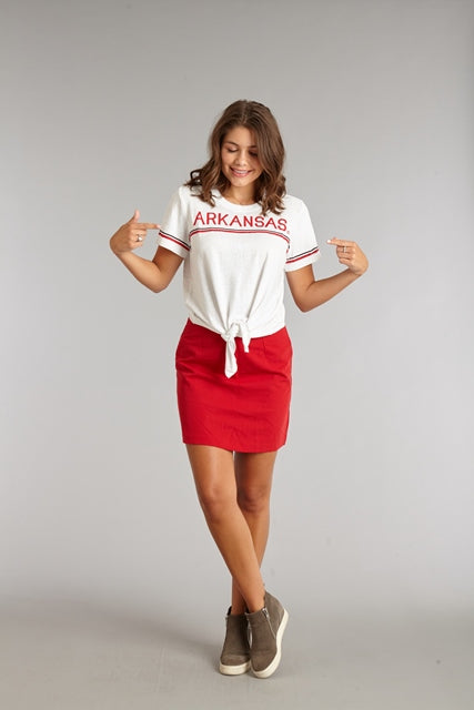 Arkansas Vintage Stripe Crop Top