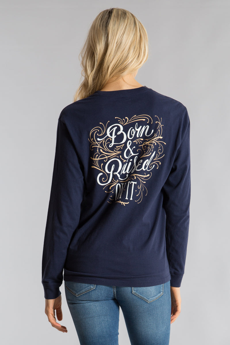 Estate Blue-Born and Raised Tee L/S- Back 1