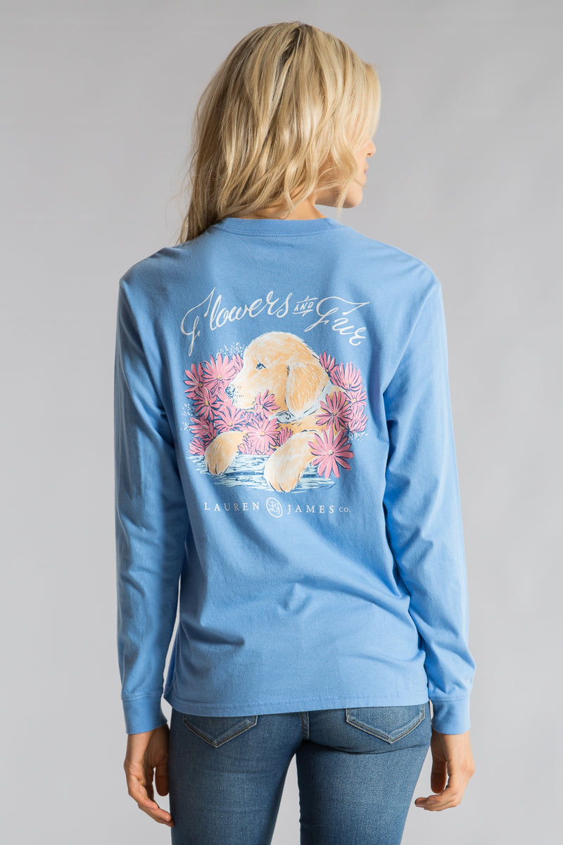 Delta Blue- Flowers and Fur Tee L/S- Back 1