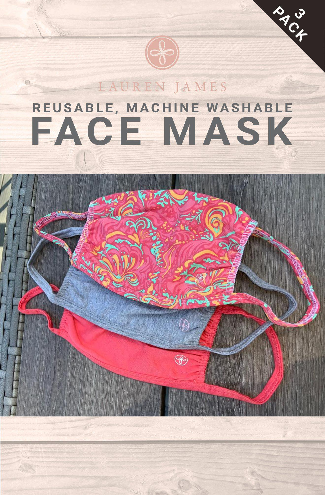 LJ Face Mask - 3 Pack (Floral, Grey Heather, Raspberry)