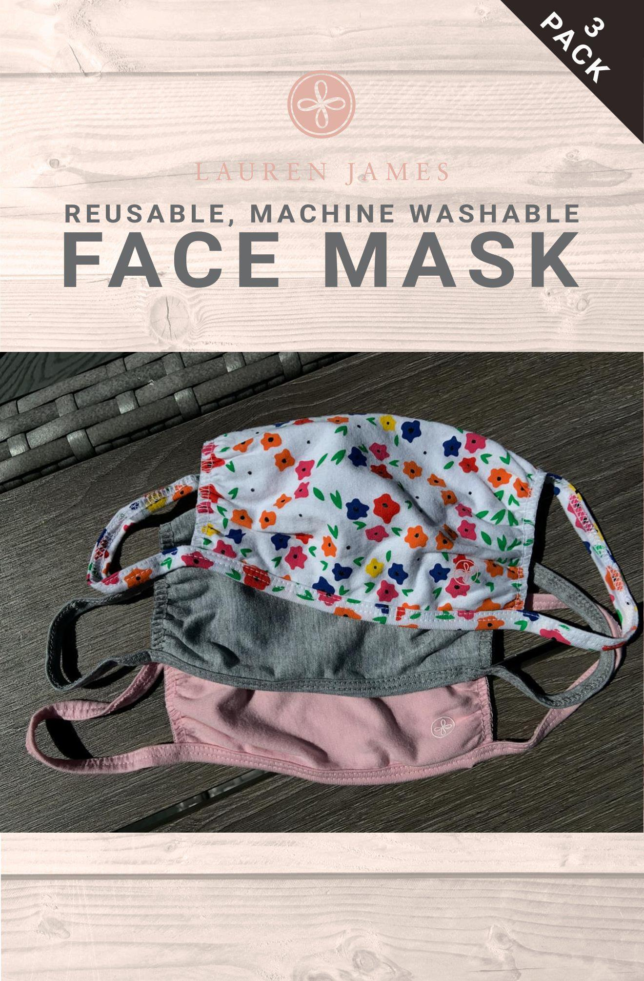 LJ Face Mask - 3 Pack (Flower, Heather Grey, Blossom)