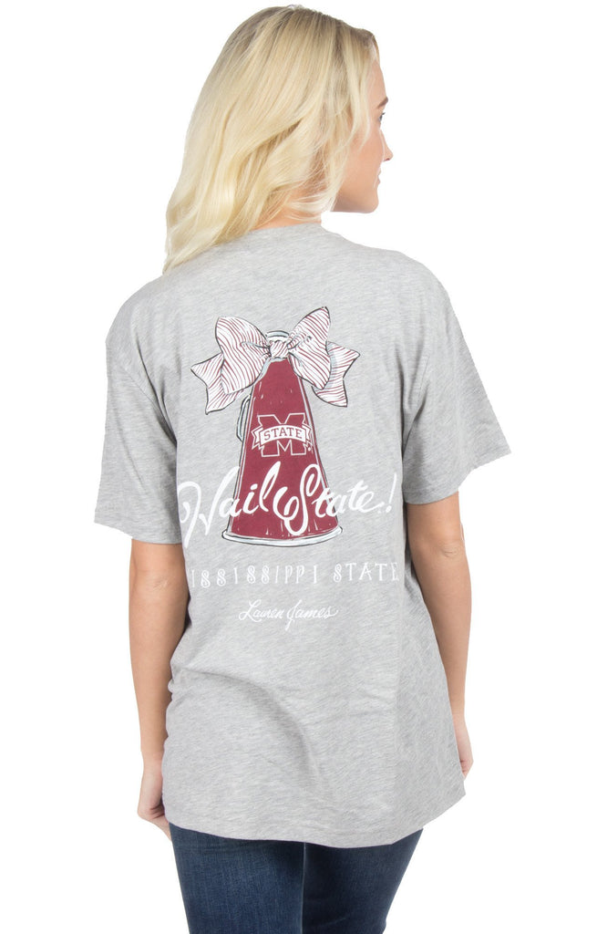 Heather Grey - Mississippi State Megaphone Tee - Short Sleeve Back
