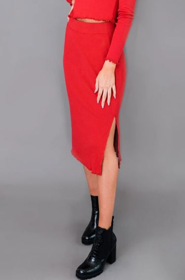 Fitted Pencil Skirt With Side Slit