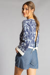 FLOWER POWER SWEATER Navy- front 1