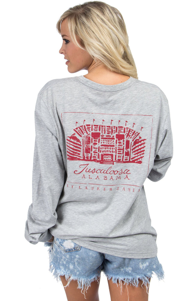 Heather Grey - Alabama Stadium Tee - Long Sleeve Back