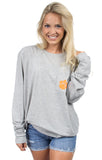 Heather Grey - Clemson Stadium Tee - Long Sleeve Front