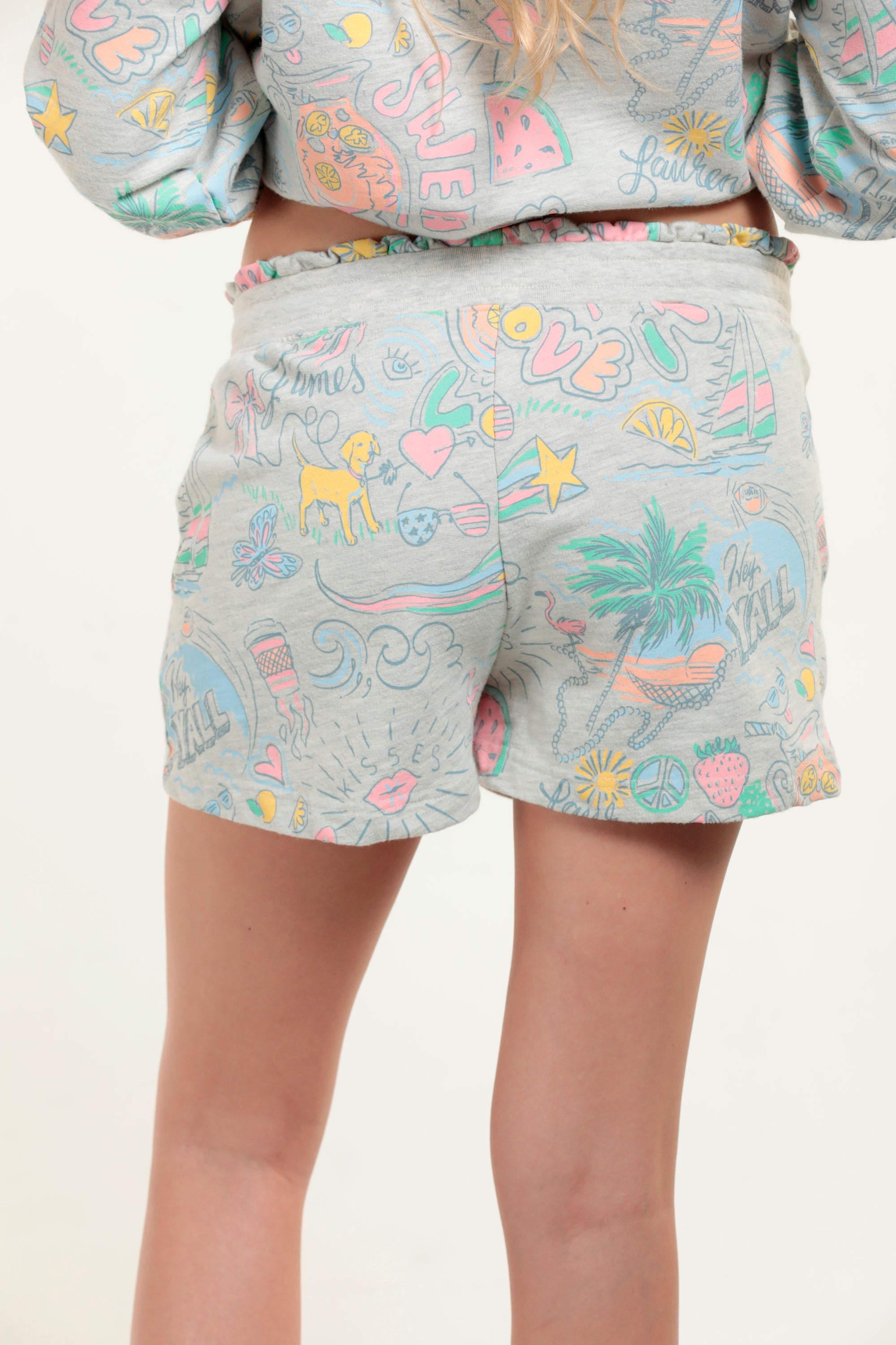 Graffiti French Terry Short with Ruffle Waistband