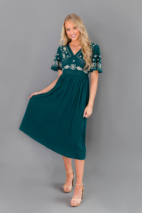 Flowy Midi Dress with Embroidery