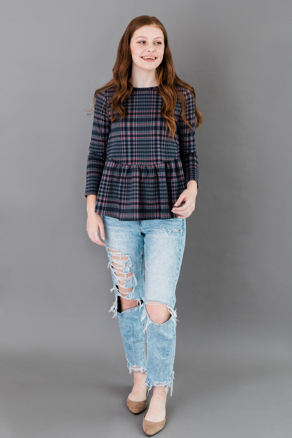 Plaid L/S With Frilled Back