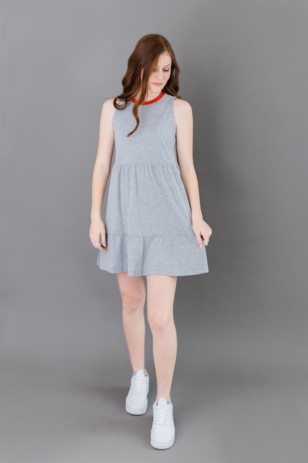 Ringer Pinafore Tiered Dress
