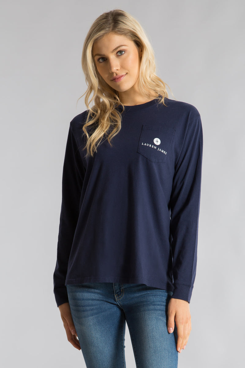 Estate Blue -Seersucker Sidelines Tee L/S- Front 2