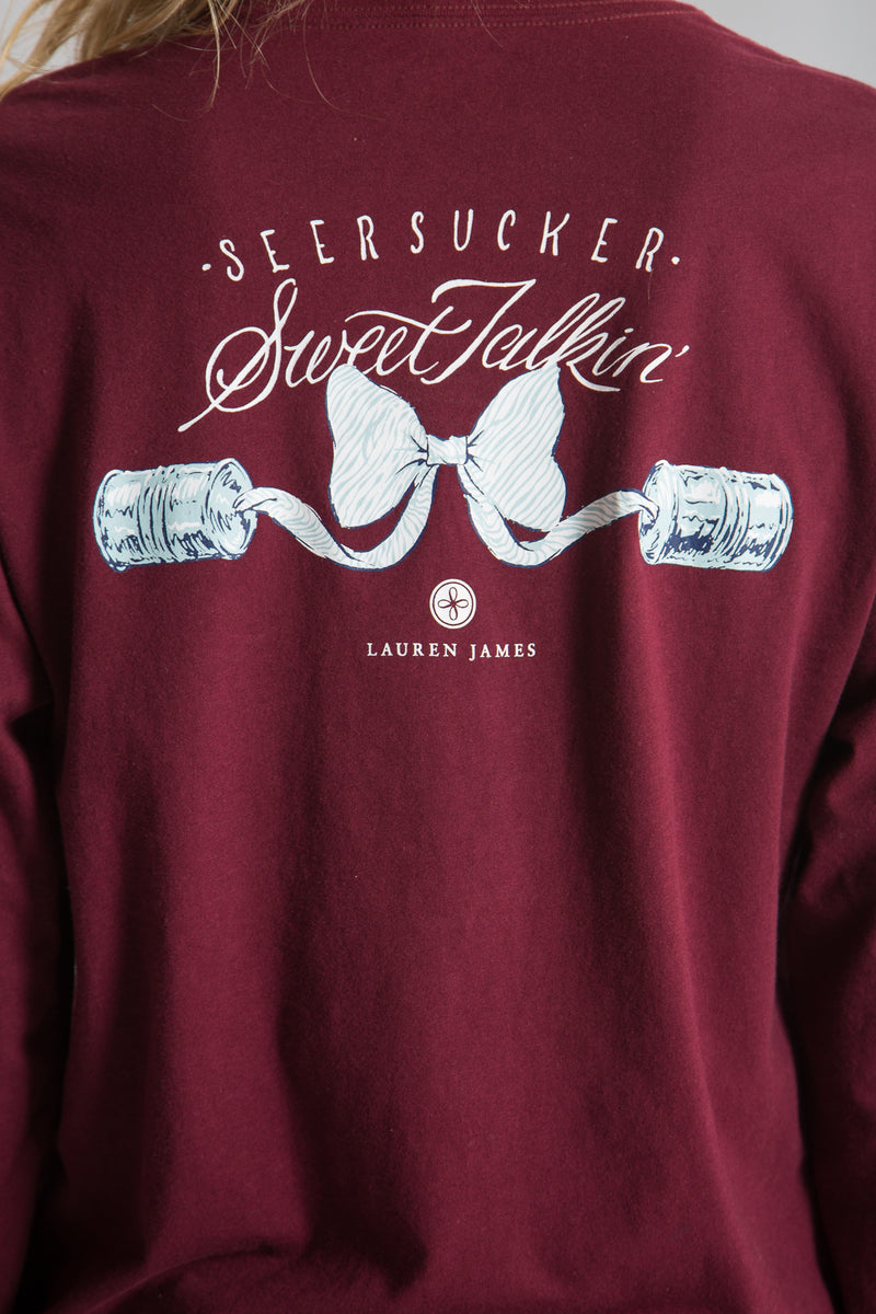 Cranberry-Seersucker Sweet Talk Tee L/S-Back 4