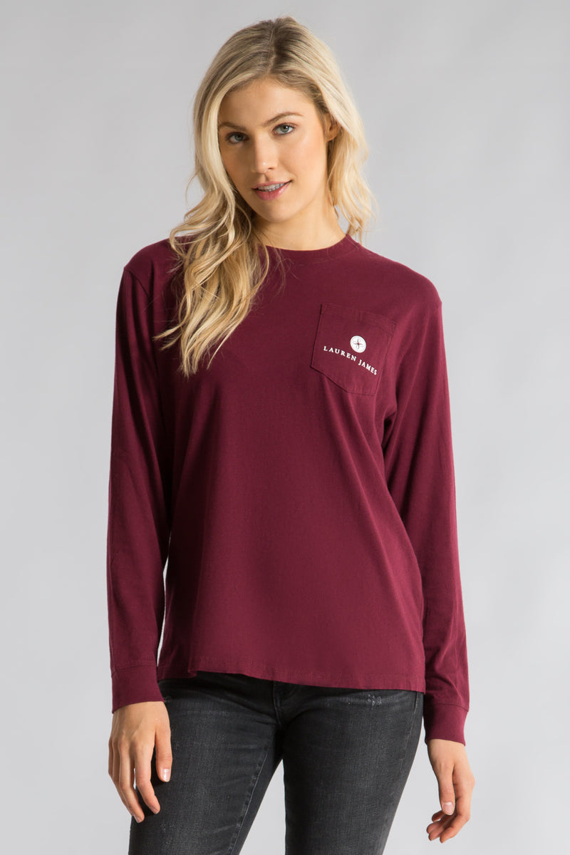Cranberry-Seersucker Sweet Talk Tee L/S-Back 2