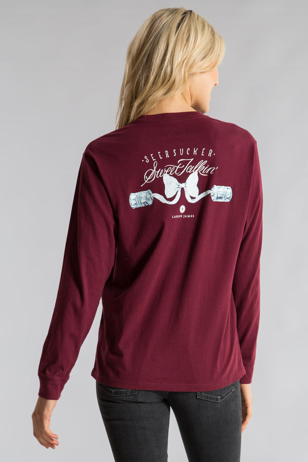 Cranberry-Seersucker Sweet Talk Tee L/S-Back 1