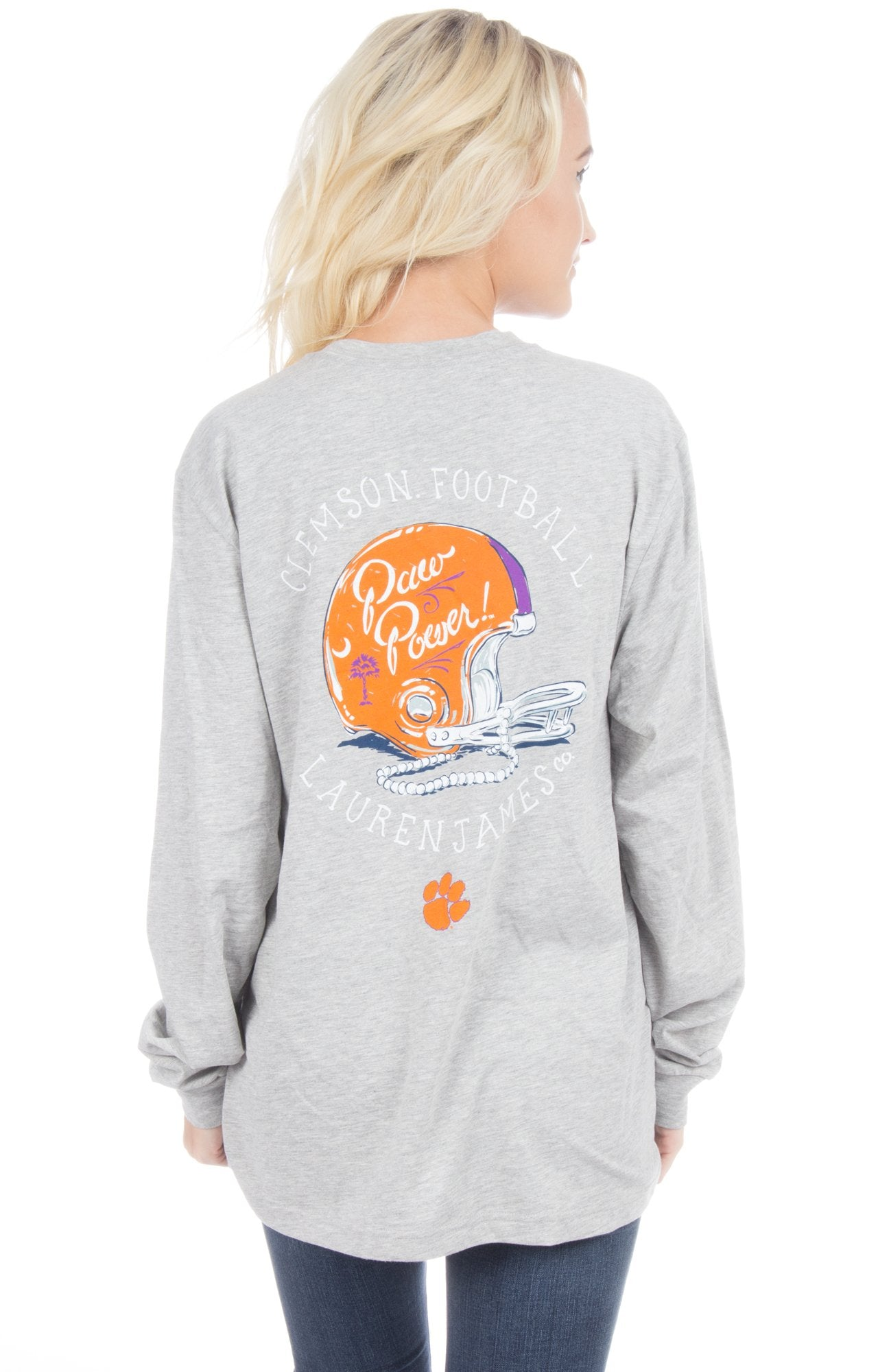 Heather Grey - Clemson University Helmet Tee - Front