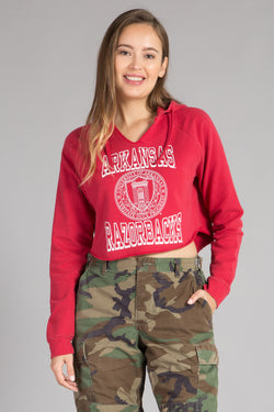 UNIVERSITY OF ARKANSAS CROP TOP HOODIE