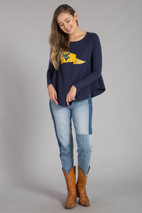 UNIVERSITY OF WEST VIRGINIA MINI THERMAL LONG SLEEVE SWING TOP