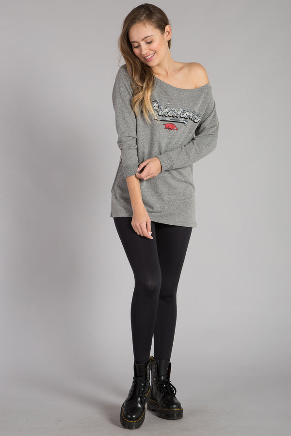 UNIVERSITY OF ARKANSAS OFF SHOULDER PULLOVER